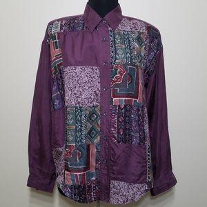 Retro 90's Silk Patchwork Long Sleeve Button Shirt